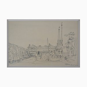 Salzburg Square Tuschezeichnung von Jean Dufy