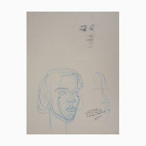 Disegno Etude de Visages Féminins di Alfred Courmes