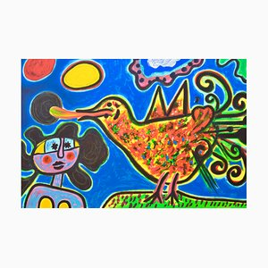The Woman and the Multicolored Bird Lithograph by Corneille
