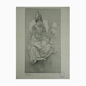 Woman in Traditional Outfit Lithograph by Alphonse Mucha