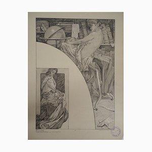 Litografia Model in the Library di Alphonse Mucha, 1902