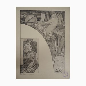 Model in the Library Lithograph by Alphonse Mucha, 1902