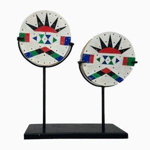 """RARE pair of """"IZIQUAZA"""" earrings, Zulu, South Africa. 1930."""