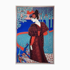 Woman with Paon Lithograph by Louis Rhead