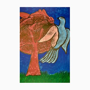 The Pink Tree and the Blue Bird Lithograph by Corneille