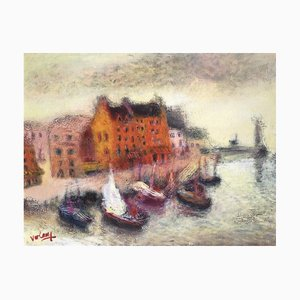 Breton Harbour Oil on Canvas by Jean Volang