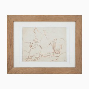 Dibujo en reposo de un gato y un perro de Louis Valtat