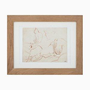 Resting Katze und Hund Zeichnung von Louis Valtat