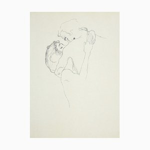 The Lovers Lithograph by Gustav Klimt