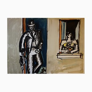 Modern Romeo and Juliette Lithograph by Jean Helion