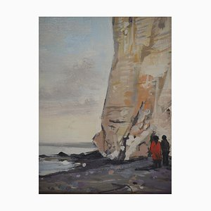 Falaises à Etretat Oil on Canvas by Jean Jacques Rene