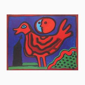 Guillaume CORNEILLE : Le coq rouge - Lithographie Originale Signée