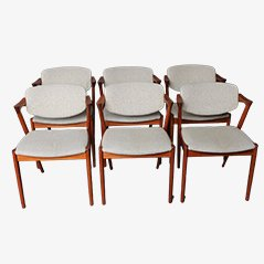 Model 42 Teak Dining Chairs by Kai Kristiansen, 1960, Set of 6