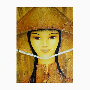 Vietnamese Woman with Hat Oil on Cardboard by Mara Tran Long