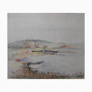 Paysage de Bord de Mer Watercolor by Charles Timsit, 1934