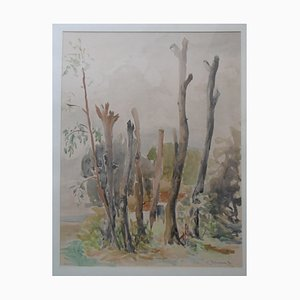 Paysage de Foret Watercolor by Charles Timsit