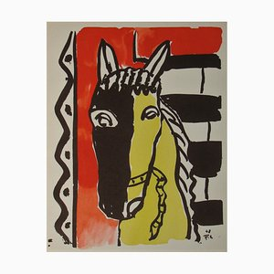 Ristampa Cheval sur Fond Rouge di Fernand Leger, 1951