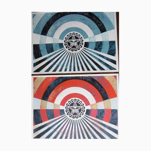Obey Giant aka Shepard Fairey - Tunnel Vision Blue and Red 2018, signed, dated and numbered