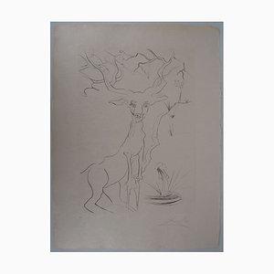 The Deer Seeing It in Water Radierung von Salvador Dali
