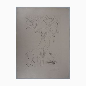 The Deer Seeing Itself In Water Etching by Salvador Dali