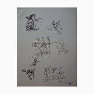 Studies of Angels Drawing by Demetrios Galanis
