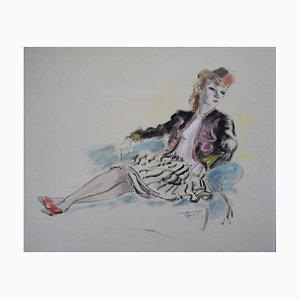 Guazzo Charming Soldier Girl Watercolour di André Dignimont