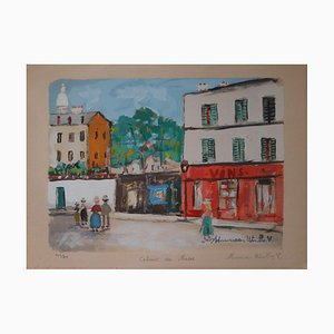 Cabaret of the Muses Engraving and Gouache by Maurice Utrillo