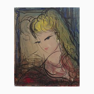 Michel-Marie POULAIN - Thoughtful woman, signed oil on canvas