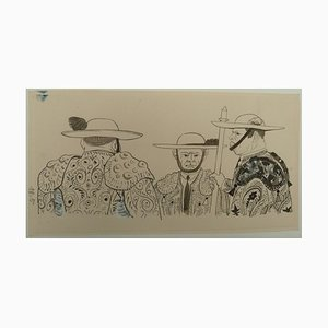 Pierre-Yves TREMOIS - The Picadors' Conversation, original drawing, 1959