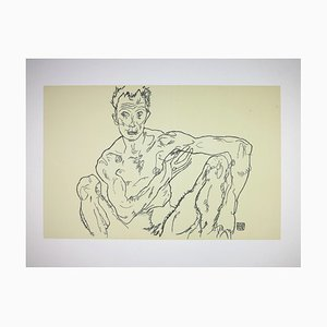 The Last Self Portrait Lithograph by Egon Schiele, 1918