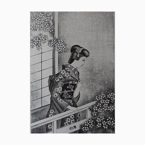 Japanese Woman with Fan Lithograph by Kiyoshi Hasegawa, 1930