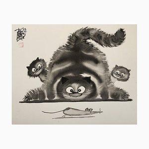 Dibujo de tinta de gato, gatitos y ratón corriendo de Laszlo Tibay