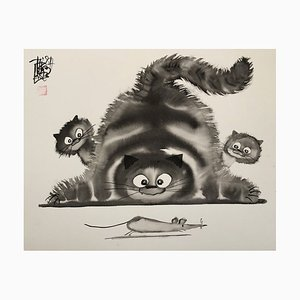 Laszlo TIBAY - Cat, Kittens and Running Mouse - Handsigned Original Ink Drawing