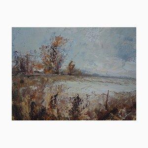 Aimé Daniel STEINLEN : Bruyères dans les nuages - Huile sur toile originale Signée