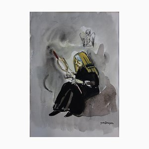 Yves BRAYER - Old Woman with skein, original signed watercolor