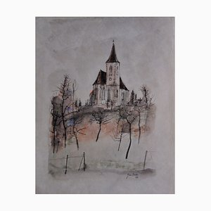 La Petite Eglise Watercolor by Bernard Gantner