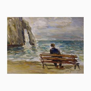 A Bench in Etretat Oil on Canvas by Jean Jacques René
