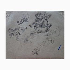 Etudes de Cupidon musicien Lithograph by Demetrios Galanis