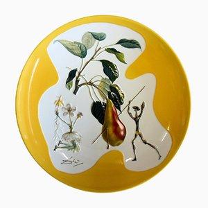 Don Quichotte Pear Porcelain Plate by Dali Salvador