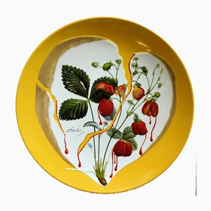 Strawberries Heart Porcelain Plate by Dali Salvador