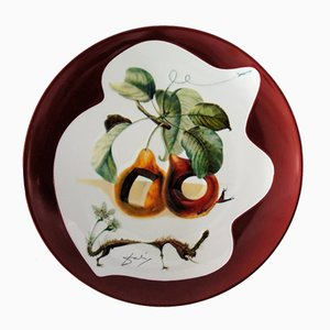 Fruits with Holes and Rhinoceros Porcelain Plate by Dali Salvador