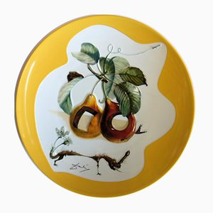DALI Salvador - Fruits with holes and rhinoceros, original signed porcelain plate
