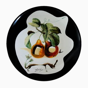 Pierced Fruits and Rhinoceros Porcelain Dish by Dali Salvador
