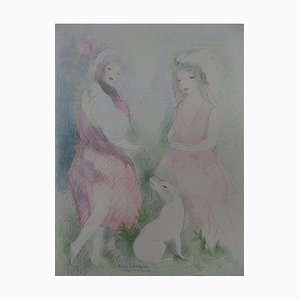 Marie LAURENCIN: Two girls with a dog, signed Lithograph - 1928