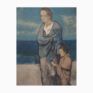 Litografía Mother and Child Reprint de Pablo Picasso