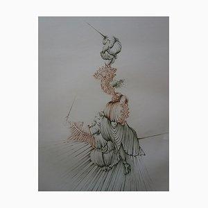 Spiky Women Engraving by Hans Bellmer