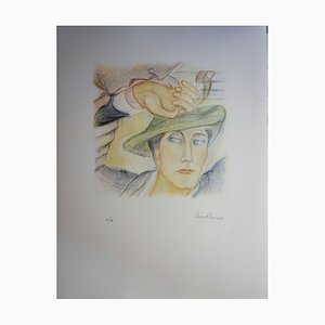 Pierre KLOSSOWSKI - Roberte's head, original signed lithograph