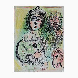 Lithographie The Flowery Clown par Marc Chagall