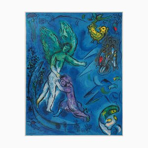 The Struggle of Jacob and The Angel Lithograph Reprint by Marc Chagall