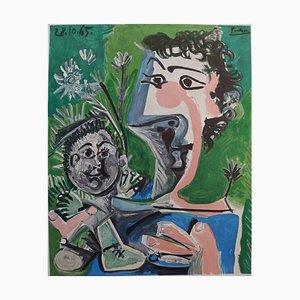 Litografia Poster Mother and Child di Pablo Picasso, 1966